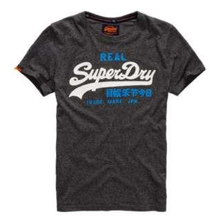 Superdry 男生深灰色混織經典Logo短T  (全新正品 美國帶回)