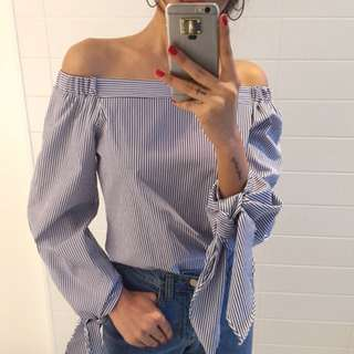 INSTOCK Off Shoulder Stripe Blouse