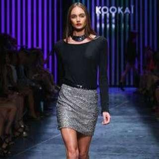Kookai Black Sequin Skirt