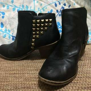Black Studded Boots Size 9