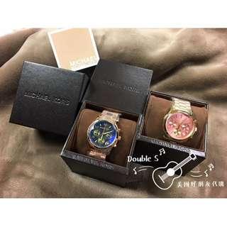 MK經典三眼湛藍錶&經典三眼玫瑰粉金錶(現貨)