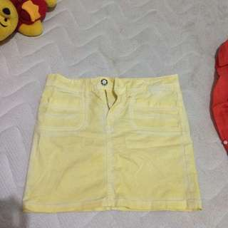 love me love you yellow jeans skirt