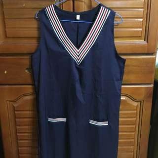 深藍學院風條紋v領洋裝