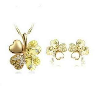 Four Leaf Clover Loveheart Earrings and Necklace set Gold Coloured with Rhinestones