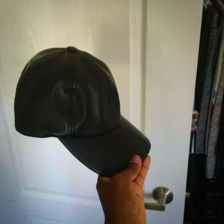 Aritzia Black Leather Ball Cap