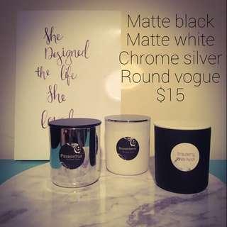 Matte Black/white Chrome Silver Round Vogue