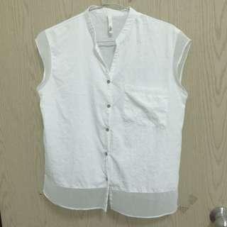 白色質感無袖襯衫 東區小店購入