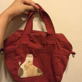 紅色貓咪防水手提袋