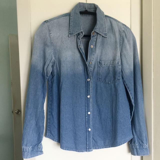 漸層牛仔襯衫/外套/罩衫#好秋服飾