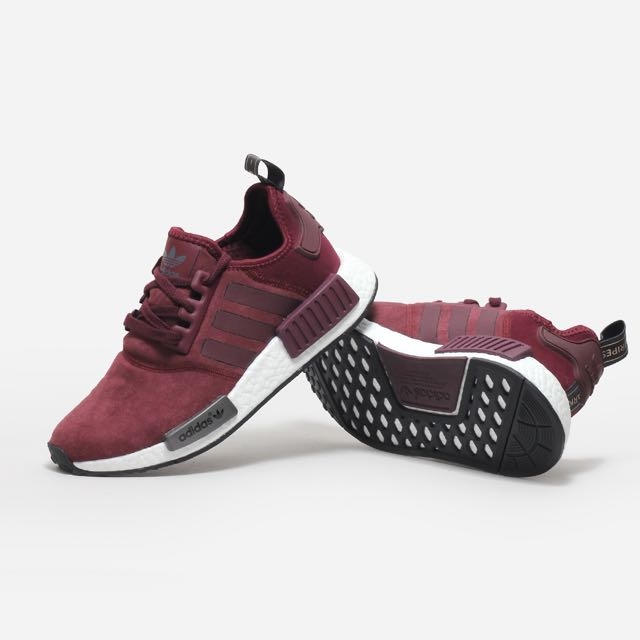 reputable site c79b2 ac717 Adidas NMD R1 Suede Maroon / Burgundy, Men's Fashion on Carousell