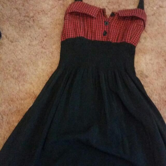 Bauhaus Black And Red Checked Dress Size 8