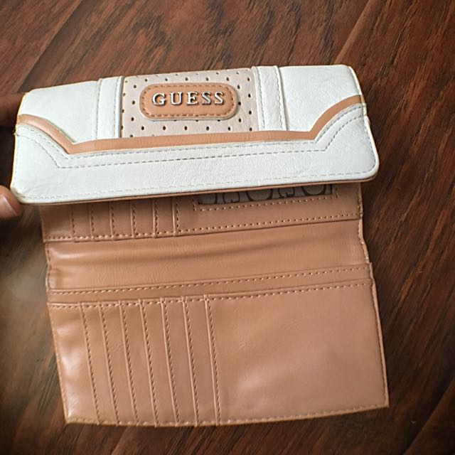 Beige & White Guess Wallet