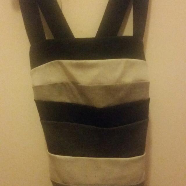 Black, White And Grey Striped Singlet Criss Crosses At The Back