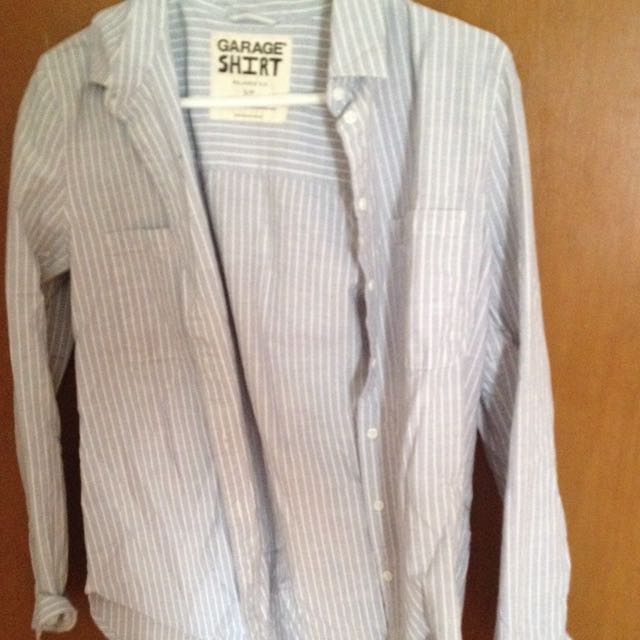 Blue And White Stripes Button Up