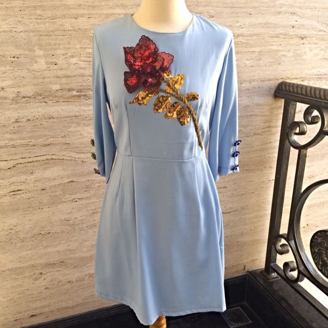 [PRICE DROP!] Blue Dress with Flower Applique