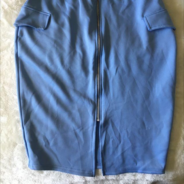 Blue Zip Up Midi Skirt