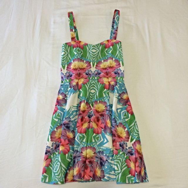 Dotti Summer Floral Dress Open Back