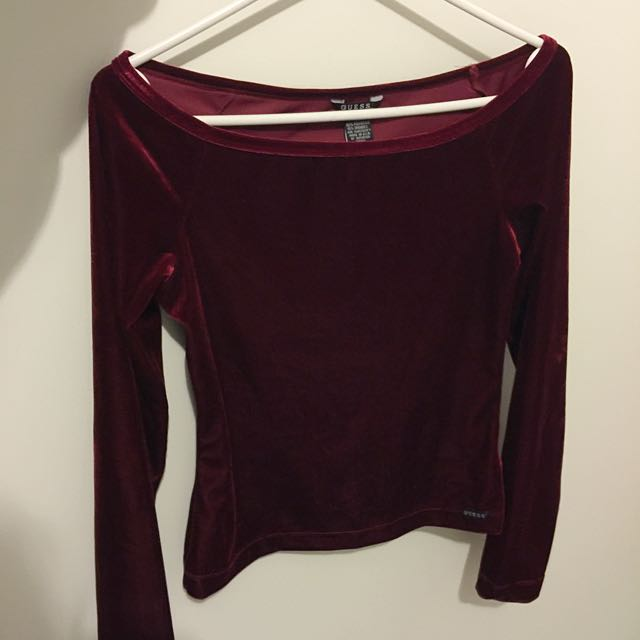 Guess Jean Red Velvet Top