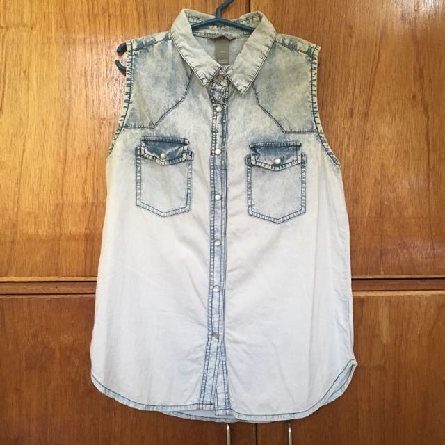 Mint Denim Sleeveless Shirt