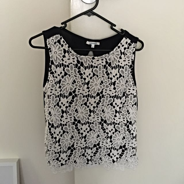 Navy & White Lace Crochet Top