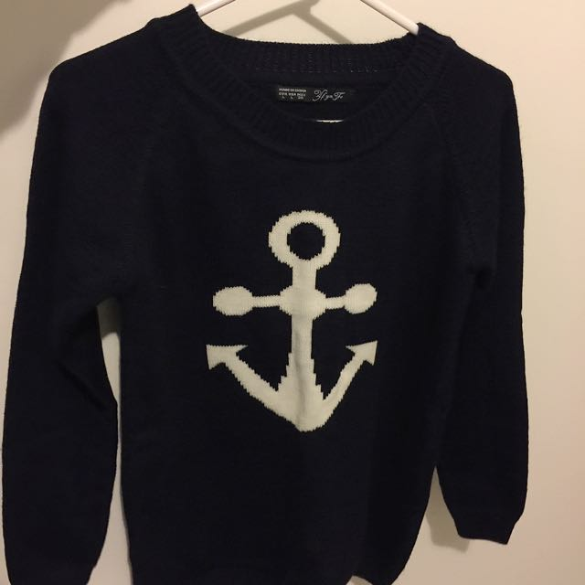 Navy Anchor Wooly Jumper