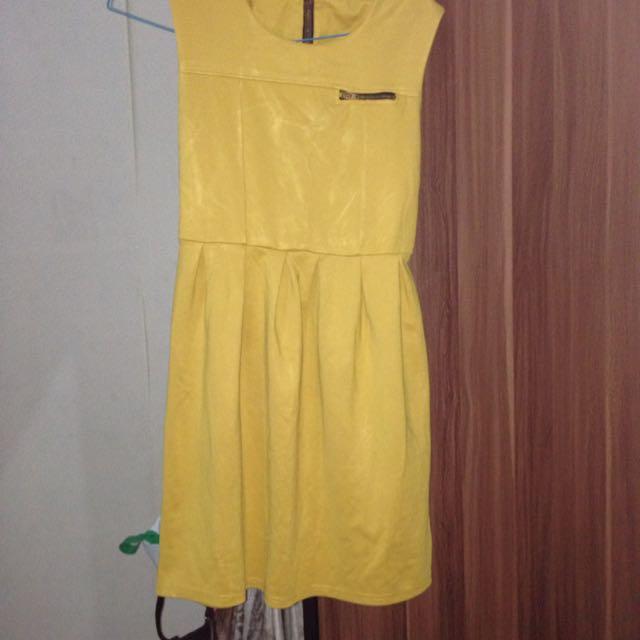 no name yellow brown dress