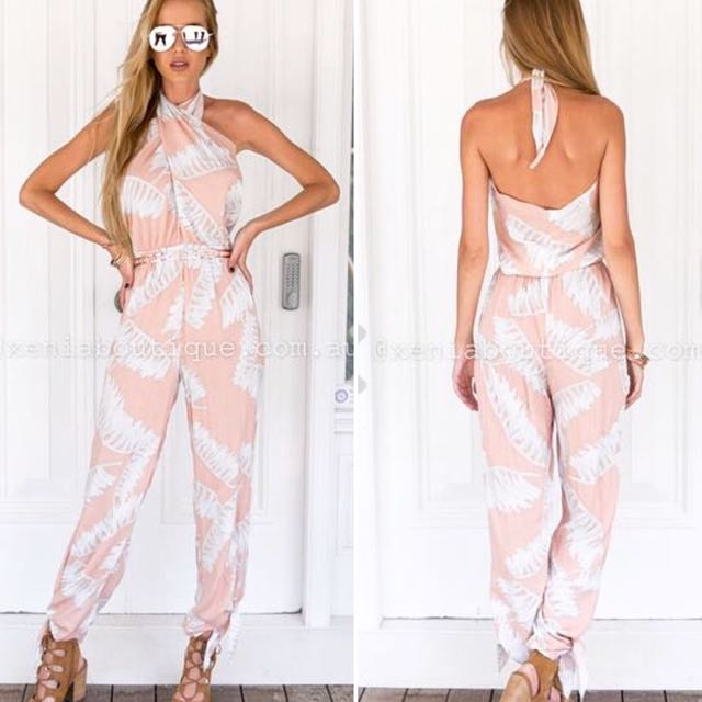 Pink And White Floral Jumpsuit