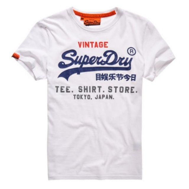 Superdry 男生白色深藍字Logo短T  (全新正品 美國帶回)