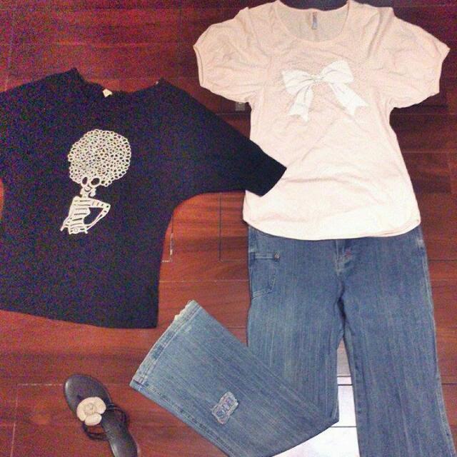 <可換物!限時特價!>蝴蝶結公主寬袖T恤+爆炸頭蝴蝶飛鼠袖上衣+復古單寧牛仔刷白破喇叭長褲