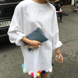 韓妞寬肩棉麻彩色球球洋裝