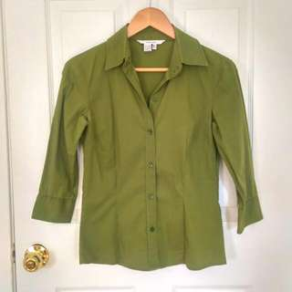Zara Basic Green Fitted Blouse