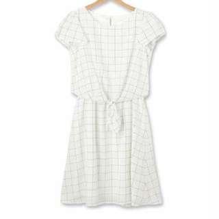 日本index荷葉袖格子腰綁傘狀洋裝