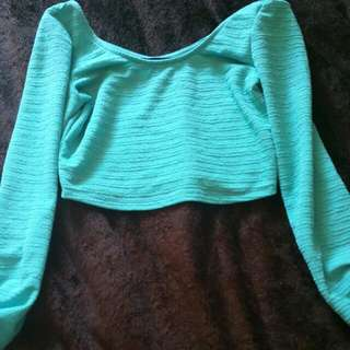 Teal Long Sleeve Crop Top