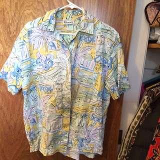 Colourful Button Up Short Sleep Shirt Unisex