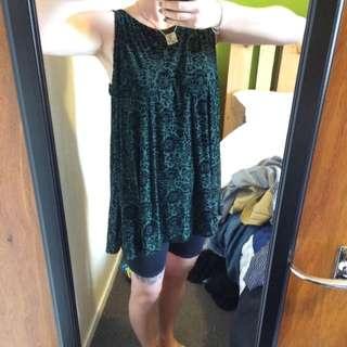 Green And Black Velvet Dress/top