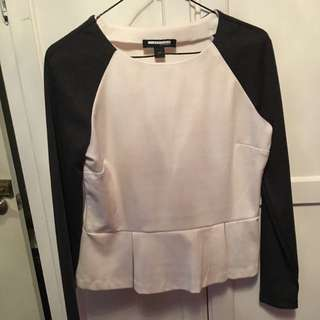 White And Grey Peplum Shirt