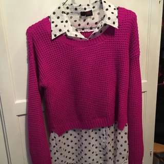 Pink Sweater With Poke a dots Shirt