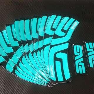 Enve SES 700 Road Bike Rims Decals Turquoise
