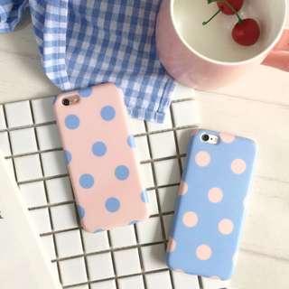 韓國石英粉 寧靜藍 粉紅玉水點點撞色iPhone6/6s/6plus/ 6splus 手機殼/軟殼