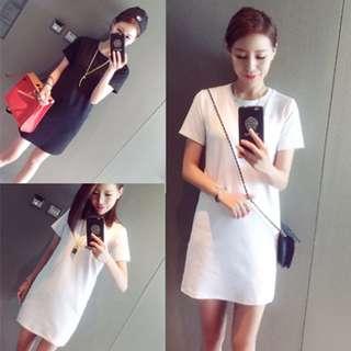 ◆兩件有優惠◆夏季 顯瘦 黑白素面百搭中長版T恤 連身裙 M~2XL 大尺碼