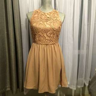 Taupe Lace Dress With Open Back