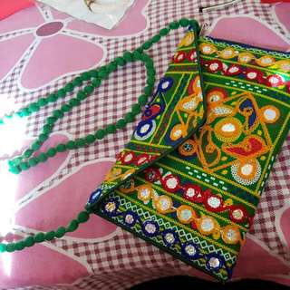 Cute Jaipuri Embroidered Bag With Silver Work