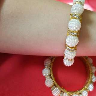 Trendy#handmade#peral And Zircon Beautiful Elegent Bangles