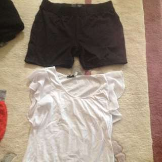 Black Under Armour Spandex Shorts And White Top With Frills