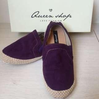 QUEENSHOP自訂款 簡約麂皮麻編休閒便鞋(紫37)