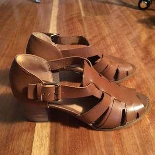 Genuine Leather Heel Sandals