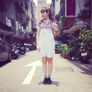 可愛白色吊帶褲 #文青