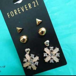 FOREVER 21菱形粉鑽石 耳環組合