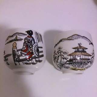 Japanese Souvenir Pair Of White Teacups
