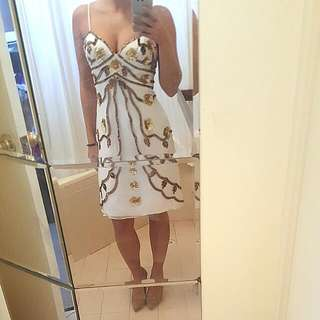 White Sequin Cocktail Style Dress Size 6 (Dana Mathers)